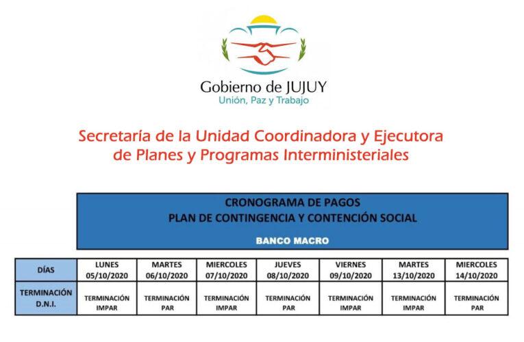 CRONOGRAMA DE PAGO A PLANES DE CONTINGENCIA Y CONTENCIÓN SOCIAL